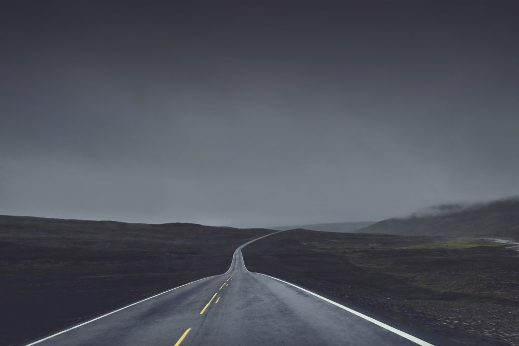 Road, dark, foggy